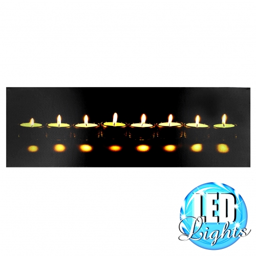 leinwandbild teelichter mit led beleuchtung. Black Bedroom Furniture Sets. Home Design Ideas