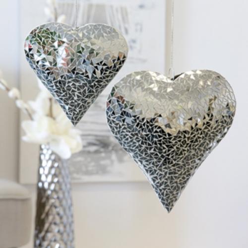 dekoschalen in herzform mit spiegel mosaik 2 tlg. Black Bedroom Furniture Sets. Home Design Ideas