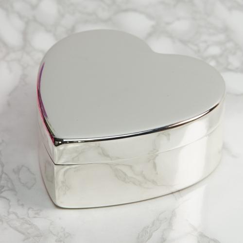 versilbert Herz Schmuckdose mit Spieluhr gravurfähig Spieluhr in Herzform