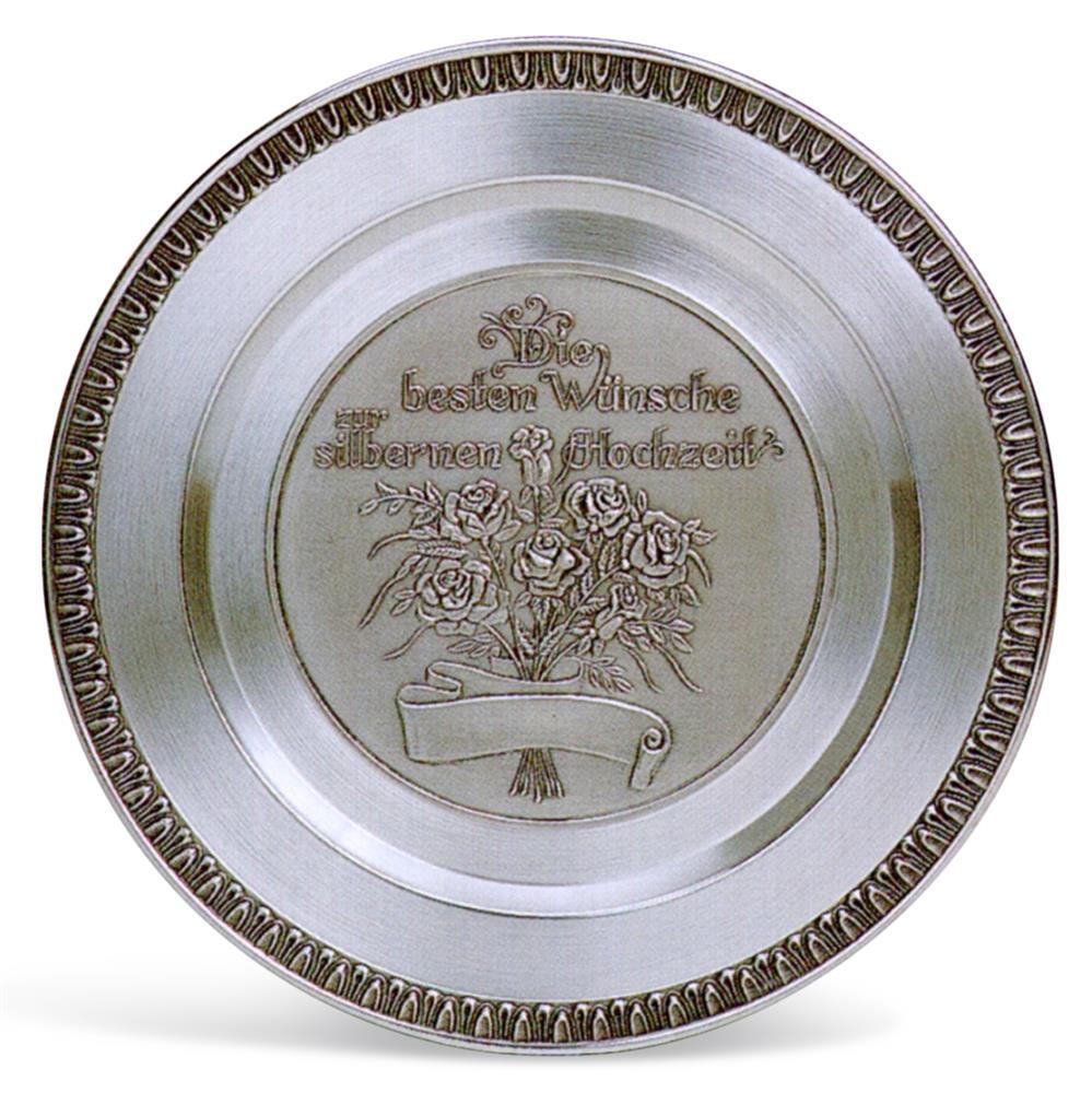 Der massive Zinnteller zur silbernen Hochzeit incl. Gravur - Geschenk zur  Silberhochzeit
