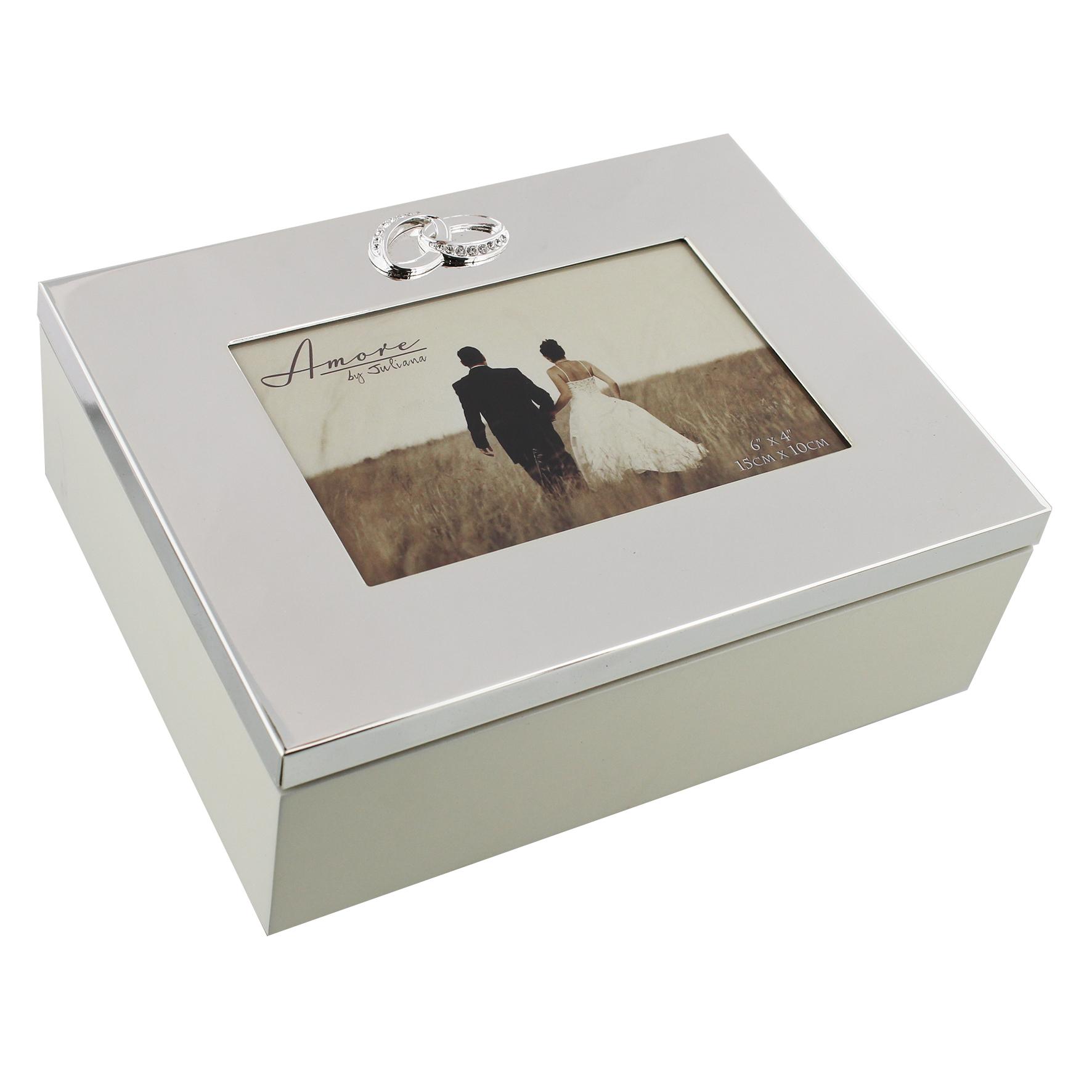 Die wunderschöne Hochzeitsbox mit versilbertem Fotorahmen