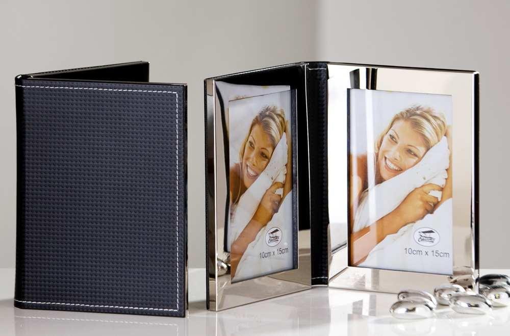 Der edle Doppelbilderrahmen im Notizbuchdesign - faltbarer Fotorahmen