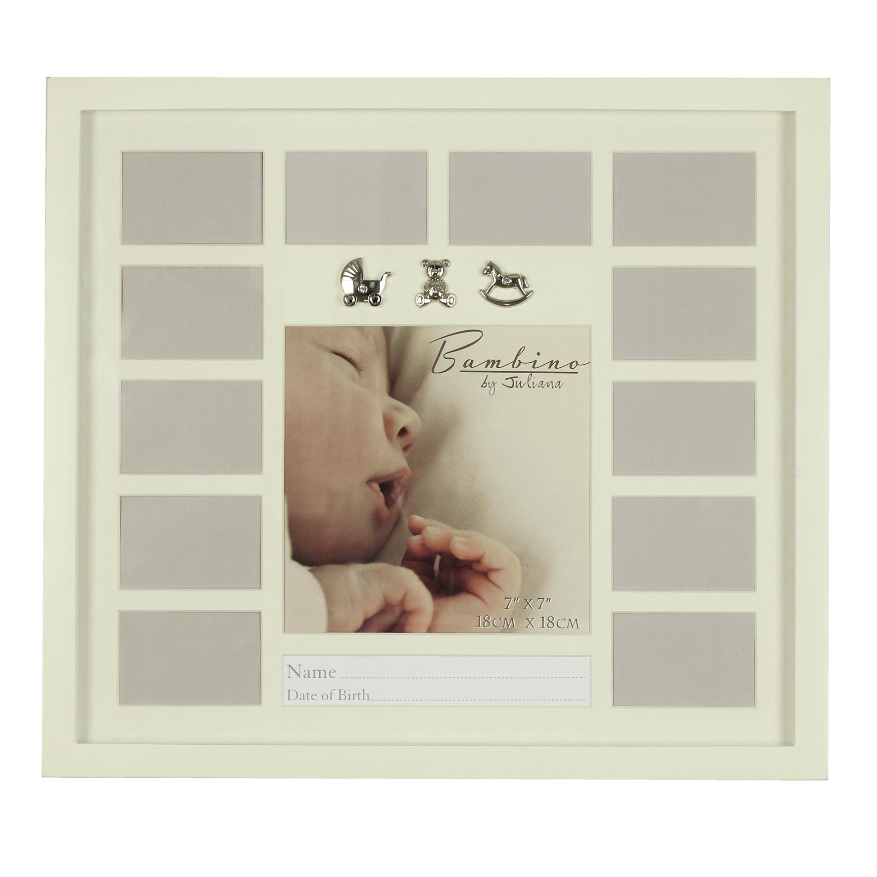 Taufgeschenk Bilderrahmen mit silbernen Babymotiven