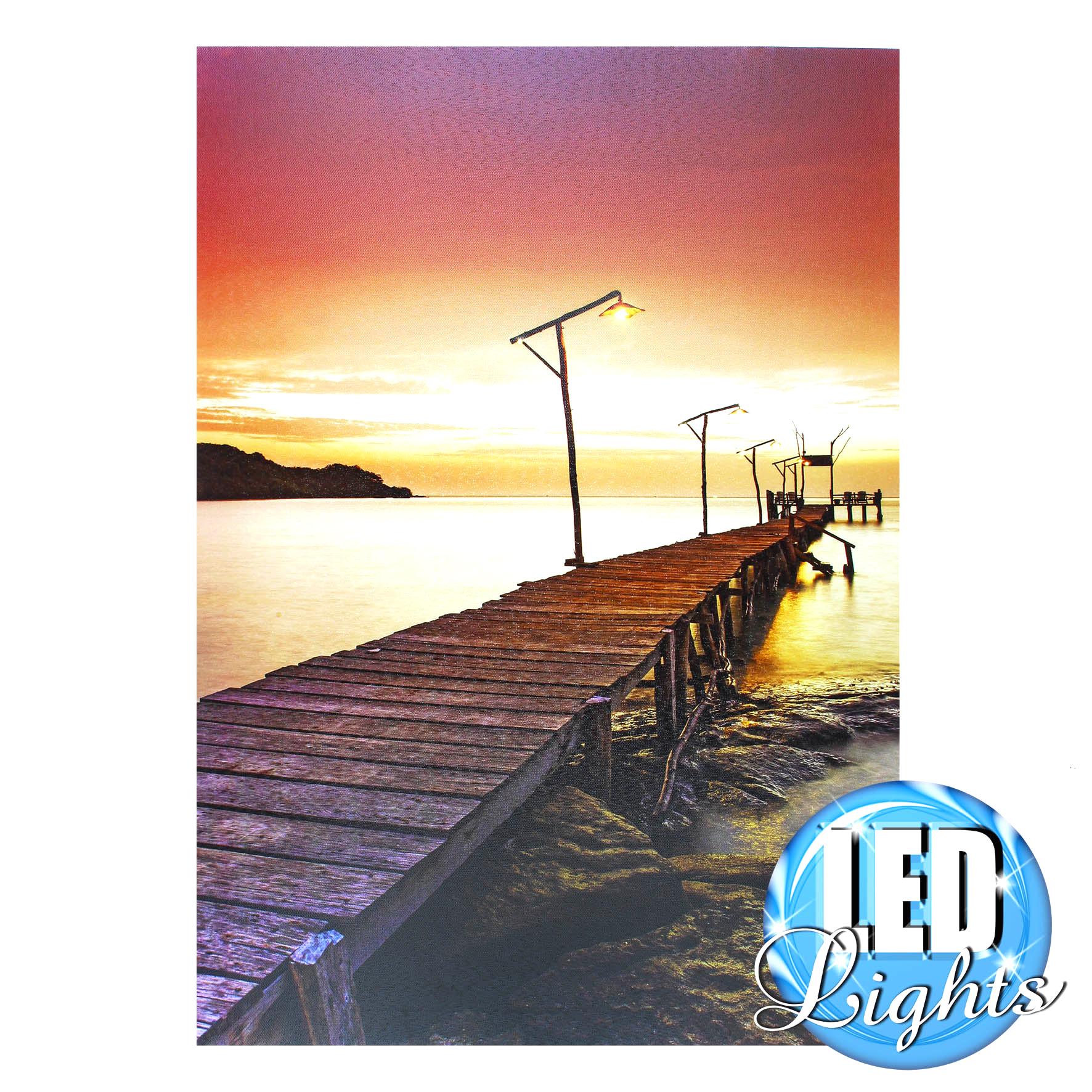Leinwandbild Sonnenuntergang Am Meer Mit Led Beleuchtung