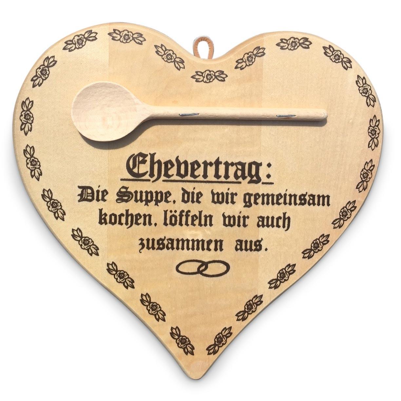 Herzbrett Ehevertrag Mit Text Kochloffel Und Gravur