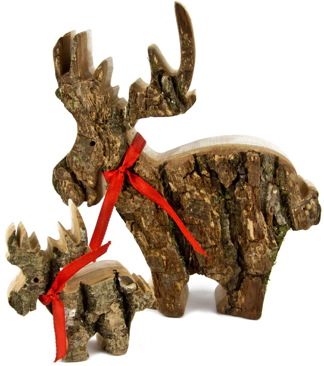 Weihnachtsdeko Rinde.Weihnachtselch Aus Holz Mit Rinde