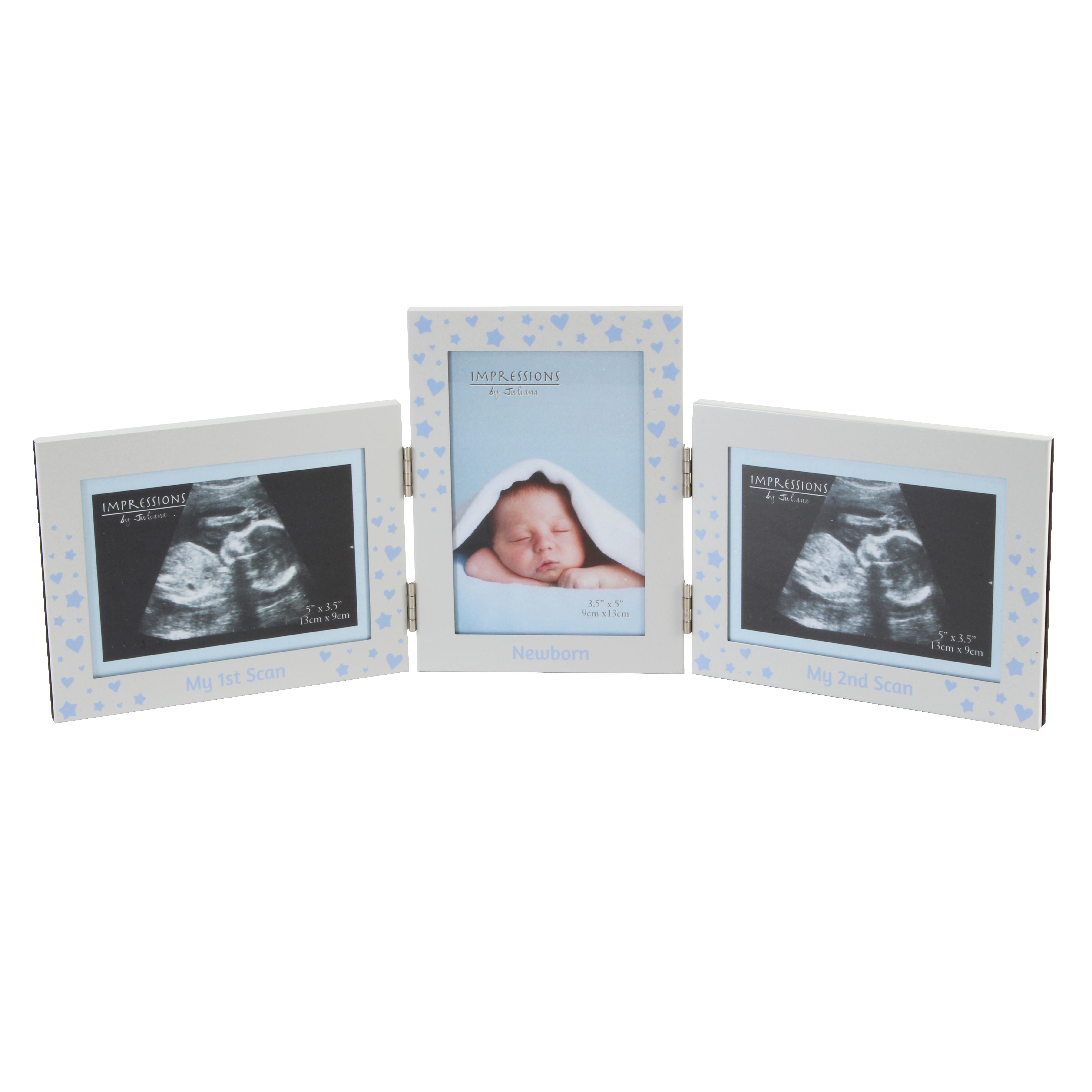 Ultraschall Fotorahmen 3 teilig in Blau 3 Stück 13x9cm Baby ...