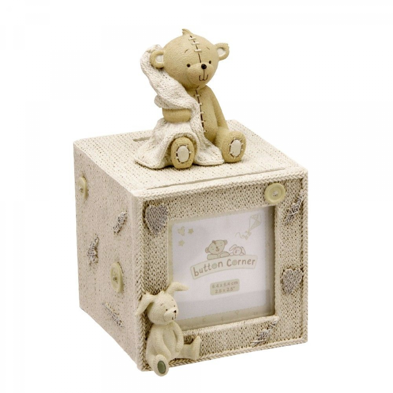 Bilderrahmen und Spardose Teddy Das versilberte Geschenkset