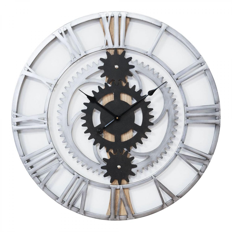 Wanduhr Industriedesign Industrial Glitzersteine Metall Dekouhr Blume Silber